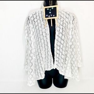 PECK & PECK Lace Open Front Jacket White Small